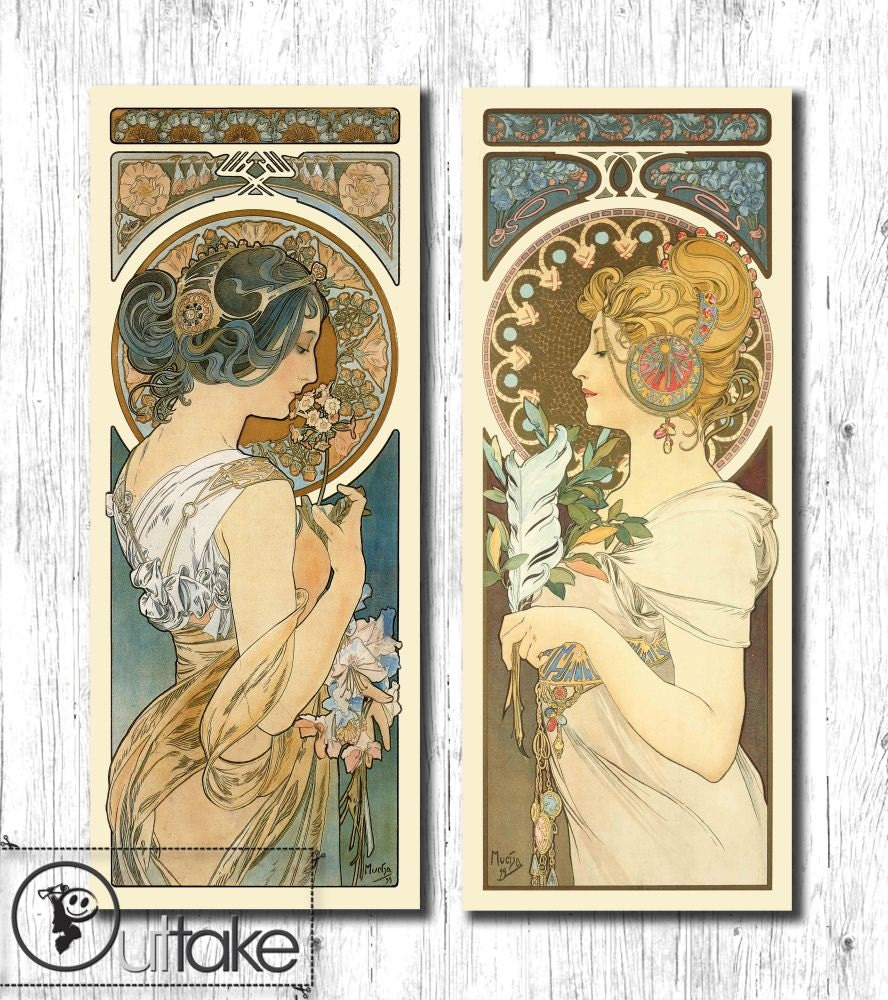 Art Nouveau vintage poster illustration set by OuttakeCanvas