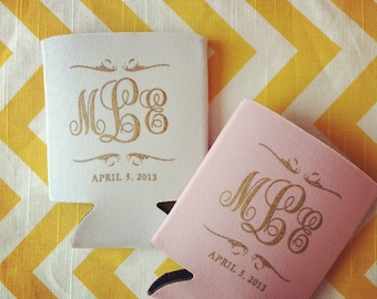 Preppy Monogram Wedding Can Cooler, Wedding Favors, Scroll Monogram Design, Fancy Monogram Can Cooler, Can Coolie