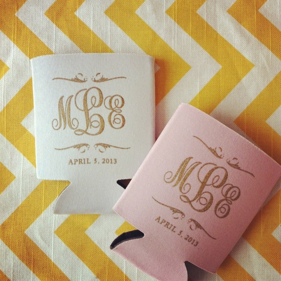 100 preppy monogram custom wedding koozies