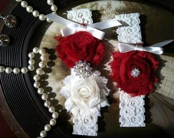 SALE-GARTER-Wedding Garter - Garters - Toss Garter - Ivory Lace Garter Set - Wedding - Vintage - Red - Red Garter -  Wedding - Rhinestone