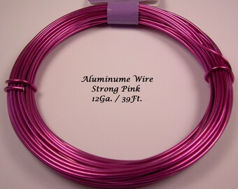Anodized Aluminum 12ga wire 39 Ft Strong Pink Color Soft
