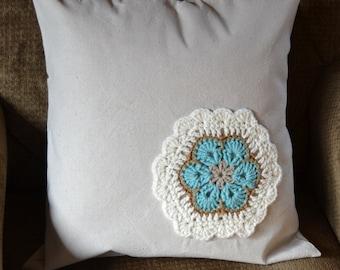 Decorative Pillow African Flower Crochet Applique Turquoise Beige  White 18 x 18 Handmade LittlestSister