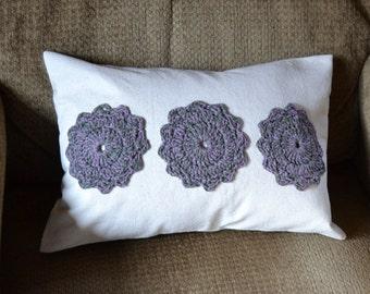 Pillow Flower Crochet Applique Purple Beige 12 x 16 Handmade Throw Accent Porch Decorative LittlestSister
