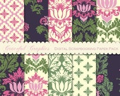 Scrapbook Paper Pack Digital Scrapbooking Background Papers 10  8.5 x 11 Bold Leafy DAMASK Deep Brown Pink Green White 1650gg