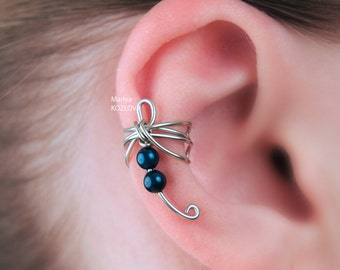 Left/ Right Cartilage Ear Cuff Small Fantasy Dragonfly Indigo Color Genuine Swarovski Pearls/fake piercing/faux oreille manchette/ohrringe