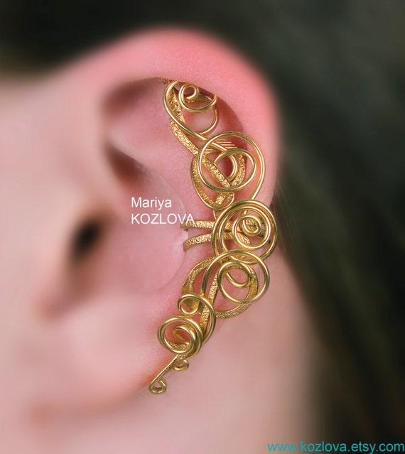 Cartilage Ear Wrap Victorian Style Gold Magic Fairy Curls/piercing imitation/ohrklemme ohrclip/ear jacket manchette/ false fake ear piercing