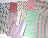 Paper pack 6 x 6 inch destash, in stripes and dots, 20 sheets one side scrapbooking paper