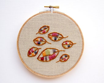 Autumn Leaves Fall Foliage, 5 Inch Hoop Art, Autumn Decor, Hand Embroidered Wall Decor, Shabby Chic Cottage Decor, Floating Leaves