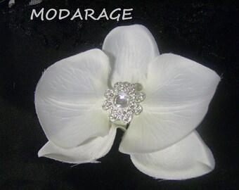 SALE Wedding Bridal Orchid Hair Clip/White Orchid Flower Fascinators Rhinestones/ Bridal Hair Accessories