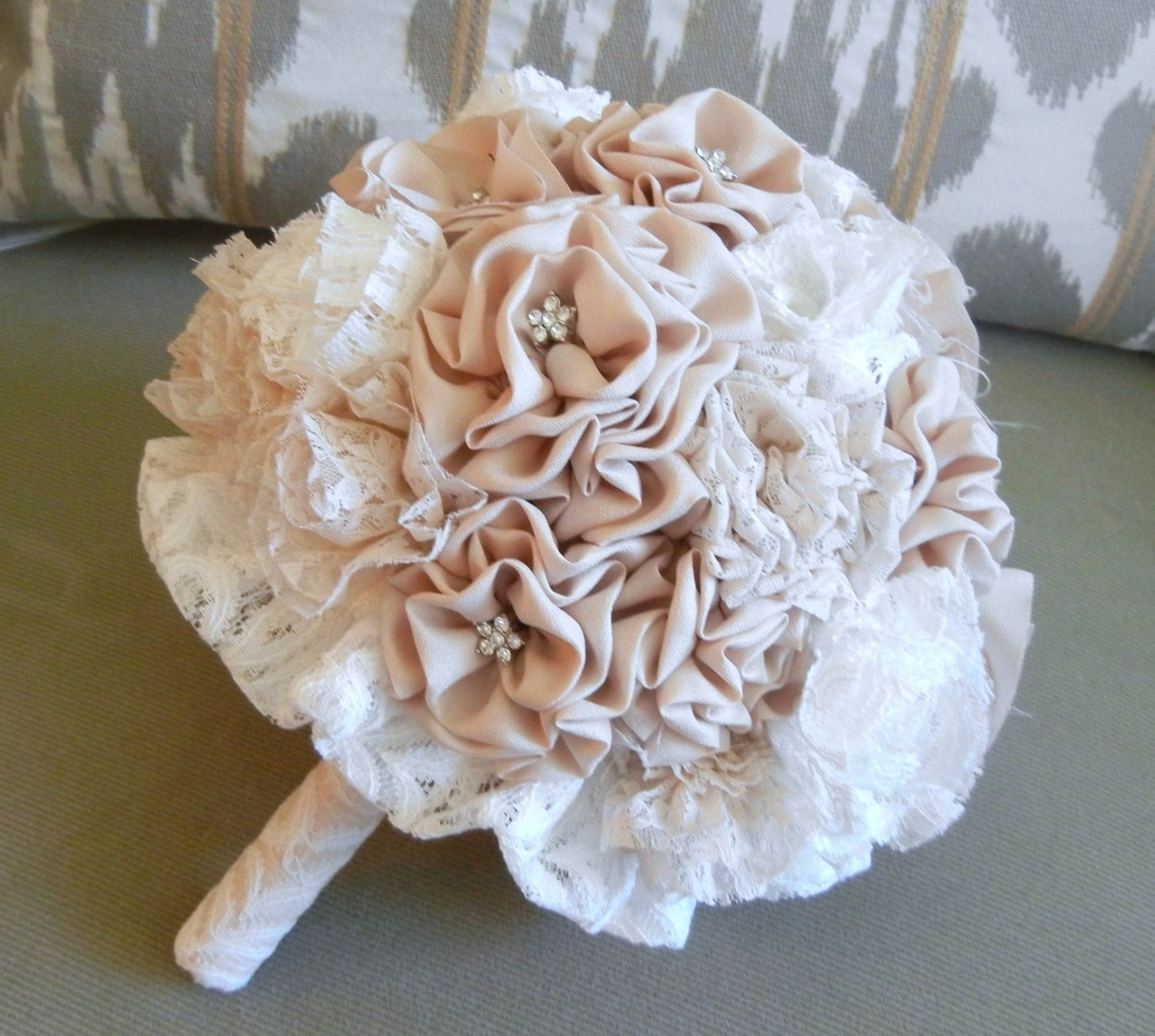 Fabric Flower Bouquet Vintage Wedding Shabby Chic Champagne