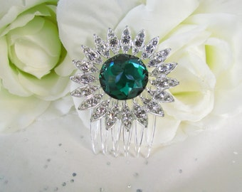 Emerald Green Bridal Hair Accessories,Green Rhinestone Hair Comb,Vintage Crystal Hair Comb,Emerald,Bridal Hair Comb Green, Flower Hair