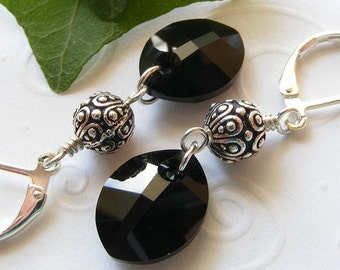Black Swarovski Crystal 'Pure Leaf' Earrings on Sterling Silver Leverbacks. Jet. Drop Earrings. Oval. Faceted.