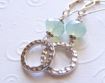 Hammered Ring and Aqua Opal Earrings on Sterling Silver Leverbacks. Rhodium-Plated. Swarovski. Beach-Inspired. Gift.