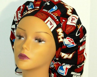 Bouffant Surgical Scrub Hat -  Miami Heat Bouffant Scrub Hat - Basketball Ponytail Scrub hat - Surgeons Scrub Cap - Doctors Gift