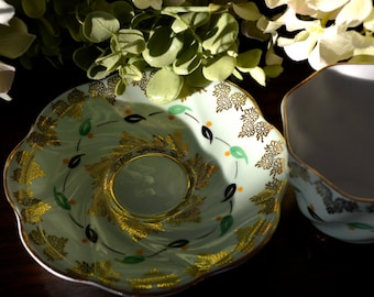 Rosina Fine Bone China Tea Cup and Saucer, Mint Green and Gold Floral, Gold Gilt, England