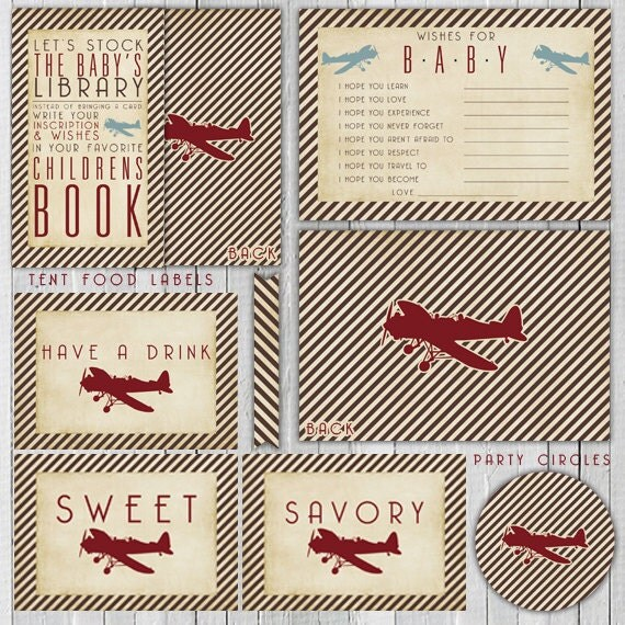 Printable Vintage Airplane Party Collection Diy By: Printable DIY Party Vintage Airplane Baby By