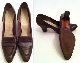 Brown Vintage Heels, Women's Leather Shoes, Brown Dress Shoes, Vintage Red Cross Shoes, Brown Leather Women's Heels, Ladies' Dress Shoes