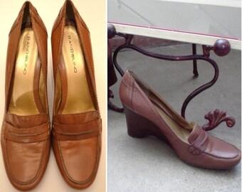Leather Vintage Shoes, Size 7.5, Women's Tan Shoes, Camel Shoes, Ladies' Heels, Bandolino Tan Vintage Dress Shoes
