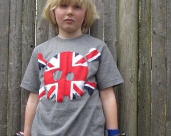 UK Born Pirate Kids T shirt Limited Edition UNION JACK Great Britain