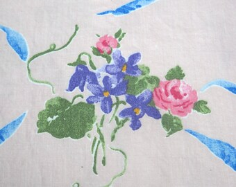 Fabric, Pink with Ribbons and Bouquets, Nearly Three Yards