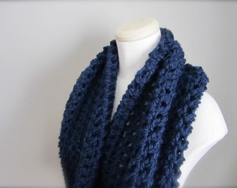 Crochet Midnight Blue, Deep Royal Blue, Navy Blue Cowl Neck Scarf, Women's Scarf, Men's Scarf, Unisex Scarf