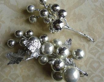 Vintage Christmas Ornaments - Mercury Glass Balls, Silver Grape Bunches, Foil Leaves, Christmas Decor, Anniversary Decor, Wedding Decor