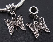 Antiqued Silver Large Hole Butterfly Dangle Bead fits European Style Charm Bracelets and Necklaces, Lead and Nickel Free, Summer, Garden