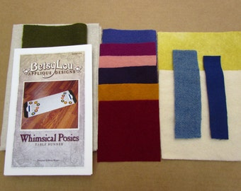 KIT - Whimsical Posies Wool Applique Table Runner Kit