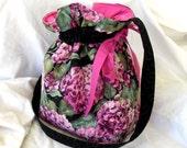 Project Bag Yarn Sock Knit Drawstring Hydrangea Medium Bag 2 Yarn Guides KIP