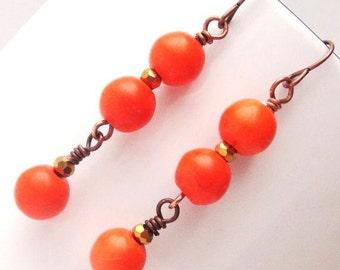 Orange Turquoise Earrings, Orange Drop Earrings, Long Dangle Earrings, Orange Earrings, Orange Stone Earrings, Bright Earrings