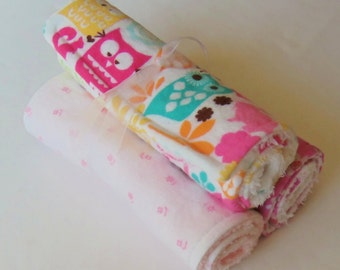 Flannel Baby Burp Cloths - Owls - Forest Life for Michael Miller