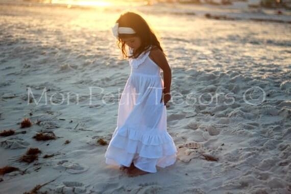 White Linen Maxi Dress - Size 2 to 4 - Flower Girl Dress-Beach Wedding Dress-Family Beach Photo Dress