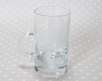Vintage Small Floral Flower Etched Glass with Handle - Kath