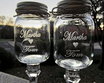 2 Redneck Wine Glass, Etched, Customized