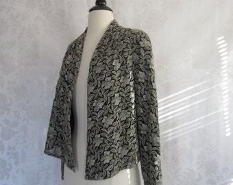 SALE Vintage 1990's Lace Embroidered Jacket/ Vintage 90's Bolero Draped Jacket/