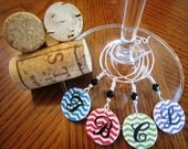 All the Rage Personalized CHEVRON Wine Charms - Set of 4