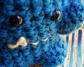 Monster Crochet Stuffed Toy Red Spikes Yarn Royal Blue