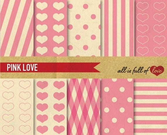 Valentines Digital GRAPHICS Pink Paper Pack Printable Scrapbook Love Backgrounds Vintage Pink Valentines Paper Mothers day DIY