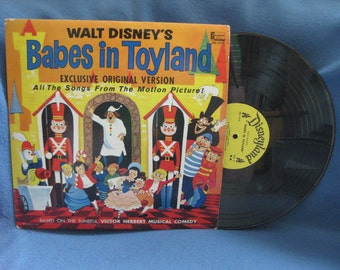 "RARE, Vintage, Walt Disney, ""Babes In Toyland"" Exclusive Original Version Soundtrack, Vinyl LP, Record Album, All The Songs From The Film"