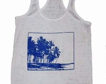 Women's Hawaii Beach Palms Screen Printed Burnout Racerback Tank Makalawena