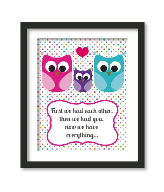 First We Had Each Other Nursery Art Owl By Babiesartroom