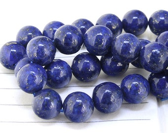 """One Full Strand ---- Charm Round Blue lapis lazuli Gemstone Beads---- 10mm ----about 40Pieces  gemstone beads---- 15.5"""" in length"""