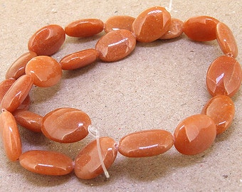 One Full Strand---  Oval orange red  Jade Gemstone Beads----13mmx18mm ----about 22Pieces---- 15.5 length