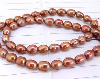One Full Strand--- Rice Coffee Red Pure Freshwater Pearl----5mm-6mm----about  50 Pieces----15.5 inch strand