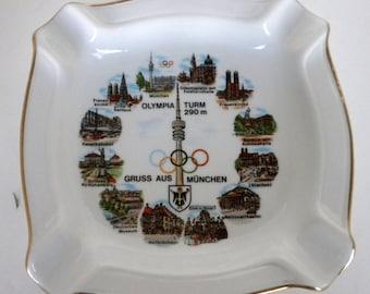 Vintage, Gerold Porzellan, Tettau Bavaria, Ashtray in Gold and White