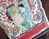 VINTAGE  Valentine Card Antique 1920 s Waiting for the Kiss