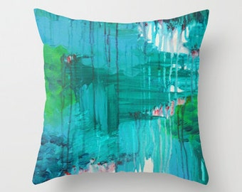 BLUE MONSOON Teal Blue Green Abstract Art Thow Pillow Cover 16x16 18x18 20x20 Rain Storm Clouds Colorful Navy Royal Blue Crimson Red Purple