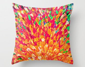NEON SPLASH Decorative Throw Pillow Cover 16x16 18x18 20x20 Intense Dash of Cheerful Color, Bold Water Waves Nature Lovers Modern Abstract
