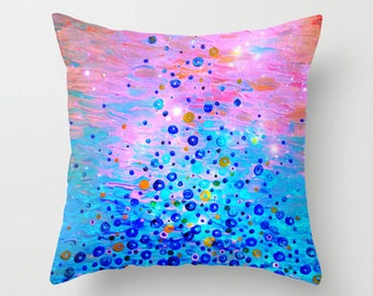 WHAT GOES UP Revisited - Art Throw Pillow Cover, 16x16 18x18 20x20 Starry Night Cushion Bubbles Ocean Magenta Royal Blue Sofa Modern Decor