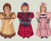 Digital Download 'Three Pretty Girls' Antique Die Cut Paper Dolls Victorian Scrap Graphic Image